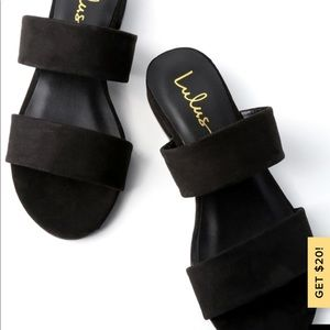 Flat two strap sandals
